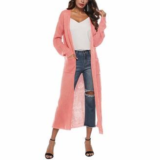 Levliong Women Split Knit Slim Cardigan Maxi Long Sleeve Loose Asymmetric Open Front Cardigan Women Sweaters with Pocket Grey
