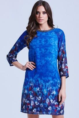 Little Mistress Blue Water Paint Floral Tunic Dress