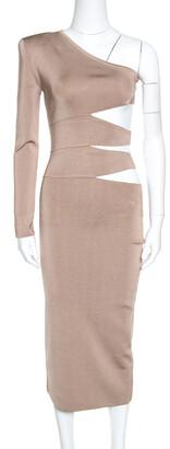 Balmain Beige Knit One Shoulder Cutout Fitted Dress M