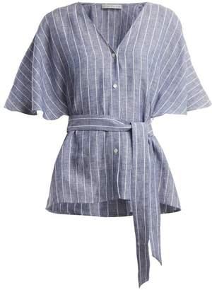 Palmer Harding Palmer//Harding Palmer//harding - Tie-waist Striped Linen Top - Womens - Navy Stripe