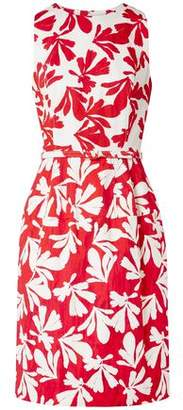 Oscar de la Renta Belted Floral-print Cotton-blend Twill Dress