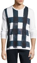 Burberry Ashby Check Graphic Long-Sleeve T-Shirt, White