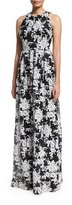 David Meister Sleeveless Crewneck Floral Chiffon Gown, Black/White