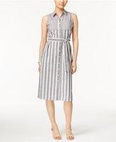 NY Collection Petite Cotton Striped Midi Shirtdress