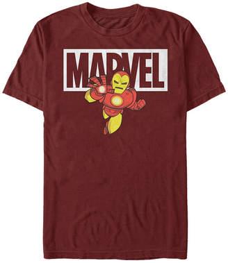 Marvel Men Classic Iron Man Cartoon Brick Logo, Short Sleeve T-Shirt