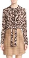 Michael Kors Women's Floral Print Silk Tie Neck Blouse