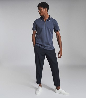 Reiss CARTER COTTON ZIP NECK POLO SHIRT Airforce Blue