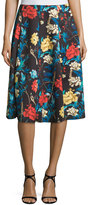 Neiman Marcus Floral A-Line Midi Skirt, Costa Rican Floral