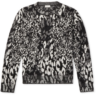 Saint Laurent Slim-Fit Leopard-Jacquard Wool-Blend Sweater - Men - Gray