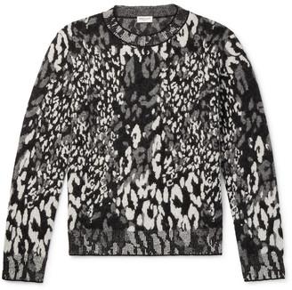 Saint Laurent Slim-Fit Leopard-Jacquard Wool-Blend Sweater