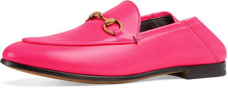 Gucci Brixton Neon Leather Horsebit Loafers