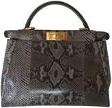 Fendi Grey Exotic leathers Handbag Peekaboo