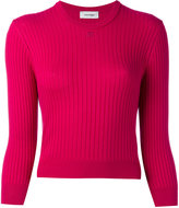 Courreges cropped round neck knit top - women - Cotton/Cashmere - 1