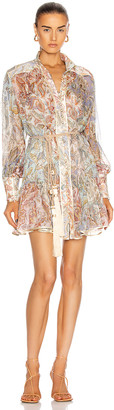 Zimmermann Lucky Bound Mini Dress in Mixed Jacobean | FWRD