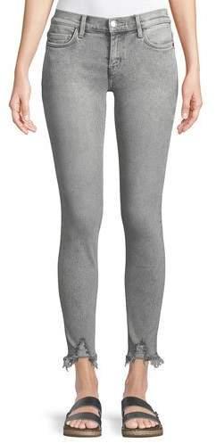 Current/Elliott The Stiletto Skinny Stone-Washed Jeans w/ Distressed Hem