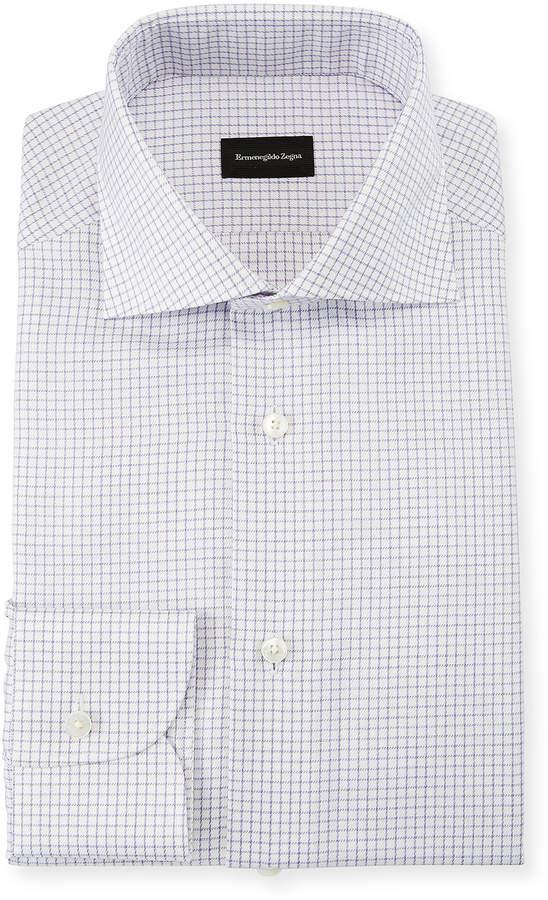 Ermenegildo Zegna Men's Graph Check Dress Shirt, Purple