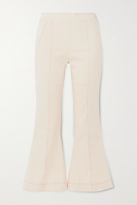 Maggie Marilyn Net Sustain Meet Me At Seven Cropped Cotton-blend Bootcut Pants - Cream