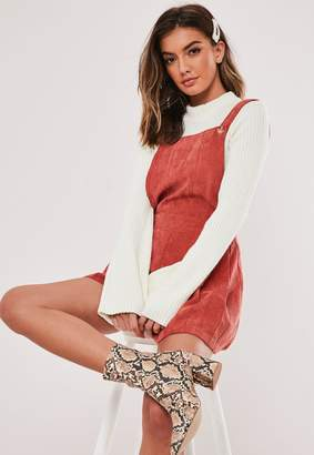Missguided Rust Cord Pinafore Playsuit