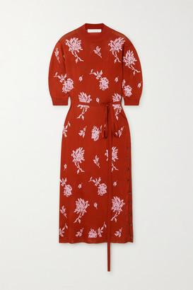 Chloé Belted Floral-jacquard Midi Dress - Orange