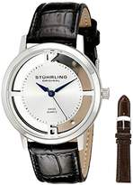 Stuhrling Original Men's Quartz Watch with Silver Dial Analogue Display and Black Leather Strap 388G2.set.01