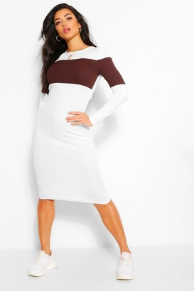 boohoo Rib Colour Block Midi Dress