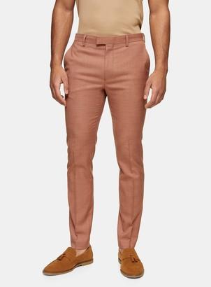 Topman Brown Skinny Fit Suit Trousers