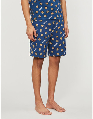Moschino Logo-print relaxed-fit cotton-jersey shorts