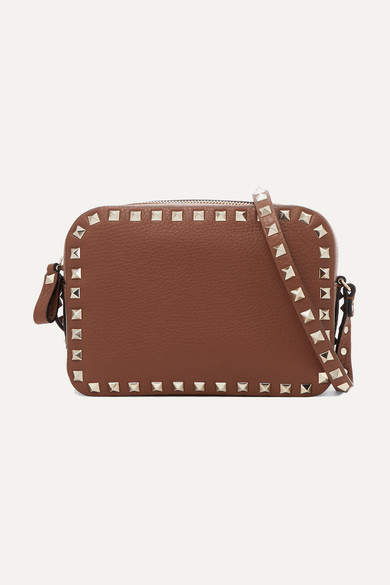 Valentino Garavani The Rockstud Textured-leather Shoulder Bag - Tan