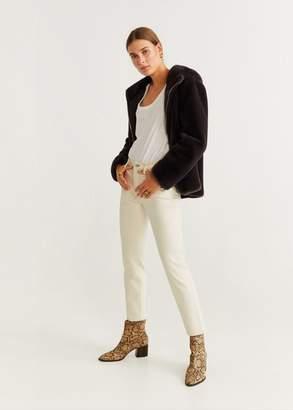 MANGO Hooded faux fur jacket beige - XXS - Women