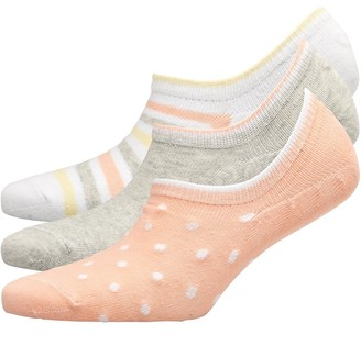 Fruit Cake Fruitcake Womens Three Pack Printed Invisible Trainer Liners White Stripe/Grey/Pink Spot