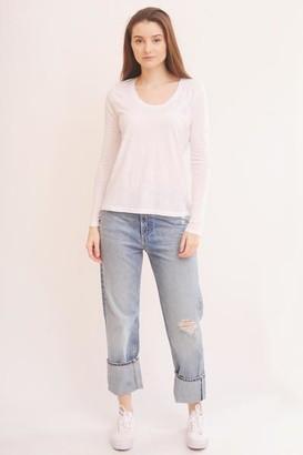 American Vintage White Jacksonville Long Sleeve T Shirt - M - White