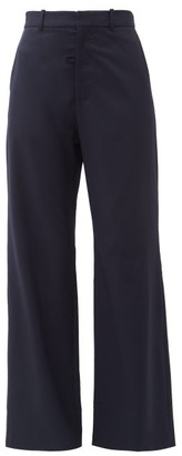 Martine Rose High Rise Wool Twill Flared Trousers - Womens - Navy