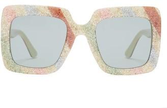 Gucci Glitter-stripe Square Acetate Sunglasses - Womens - Cream Multi