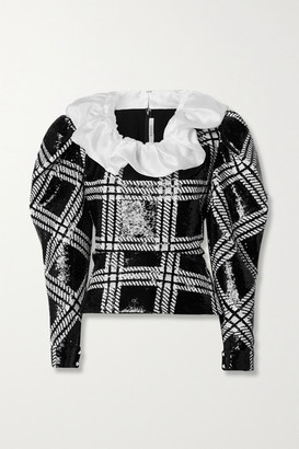 Rodarte Silk-organza Trimmed Checked Sequined Stretch-knit Blouse - Black