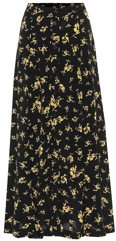 Thumbnail for your product : Ganni Floral crepe skirt