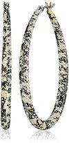 Steve Madden Fall Tropics Snake-Printed Oval Hoop Earrings