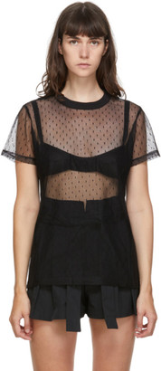 RED Valentino Black Tulle Polka Dot T-Shirt