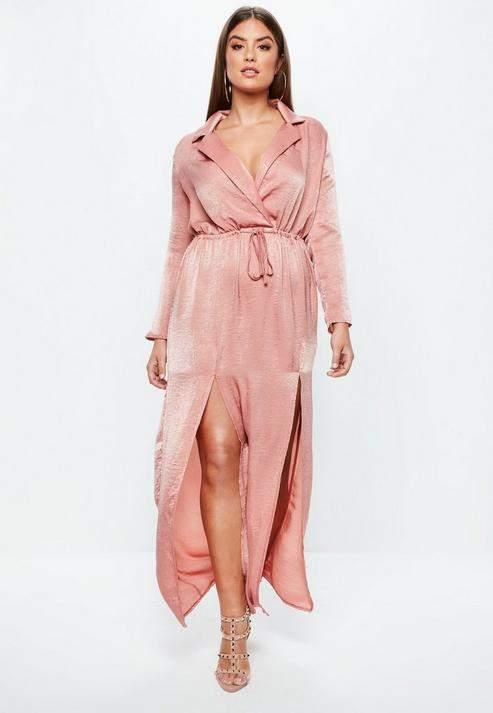 Missguided Plus Size Pink Split Front Satin Maxi Dress