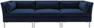 One Kings Lane Marceau Modular Sofa - Silver/Navy Velvet