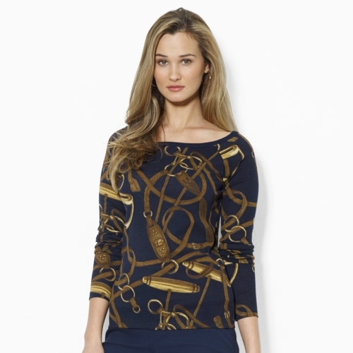 Ralph Lauren Bridle-Print Cotton Top