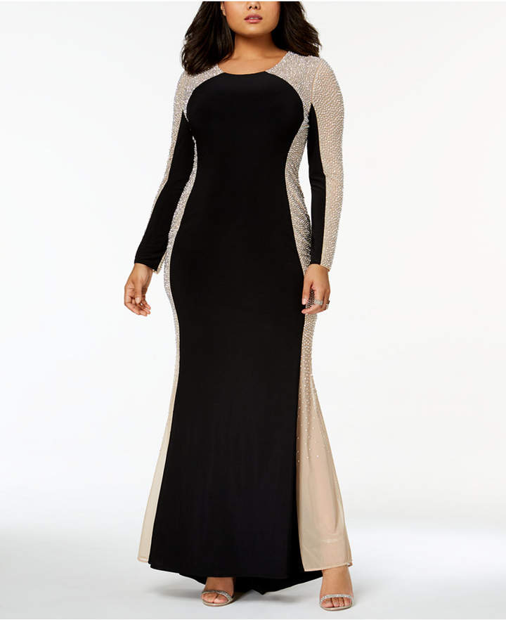 Xscape Evenings Trendy Plus Size Beaded Illusion Gown