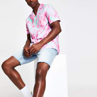 River Island Mens Pink tie dye chest pocket short sleeve shirt