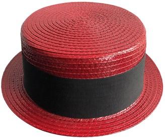 Saint Laurent Red Wicker Hats