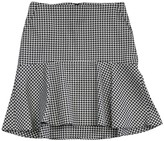 Theory White & Black Houndstooth Cotton Flared Skirt