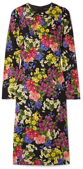 Dolce & Gabbana Floral-print Silk-blend Midi Dress - Black