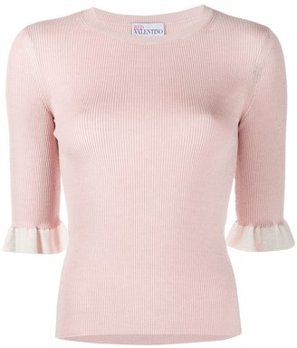 RED Valentino Knitted Frill-Cuff Top