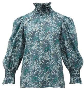 Horror Vacui Collia Smocked Floral-print Cotton Blouse - Womens - Dark Green Multi