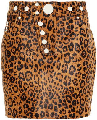 Alexander Wang Button-embellished Leopard-print Calf Hair And Leather Mini Skirt