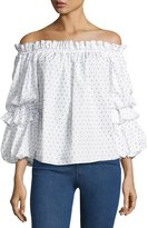Caroline Constas Gia Off-the-Shoulder Poplin Top, Blue Pattern