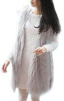 SODIAL(R) Women Faux Fur Gilet Vest Jacket Mid-long Outwear Waistcoat L